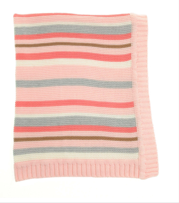 Ziggle Pink and Grey Stripes Blanket