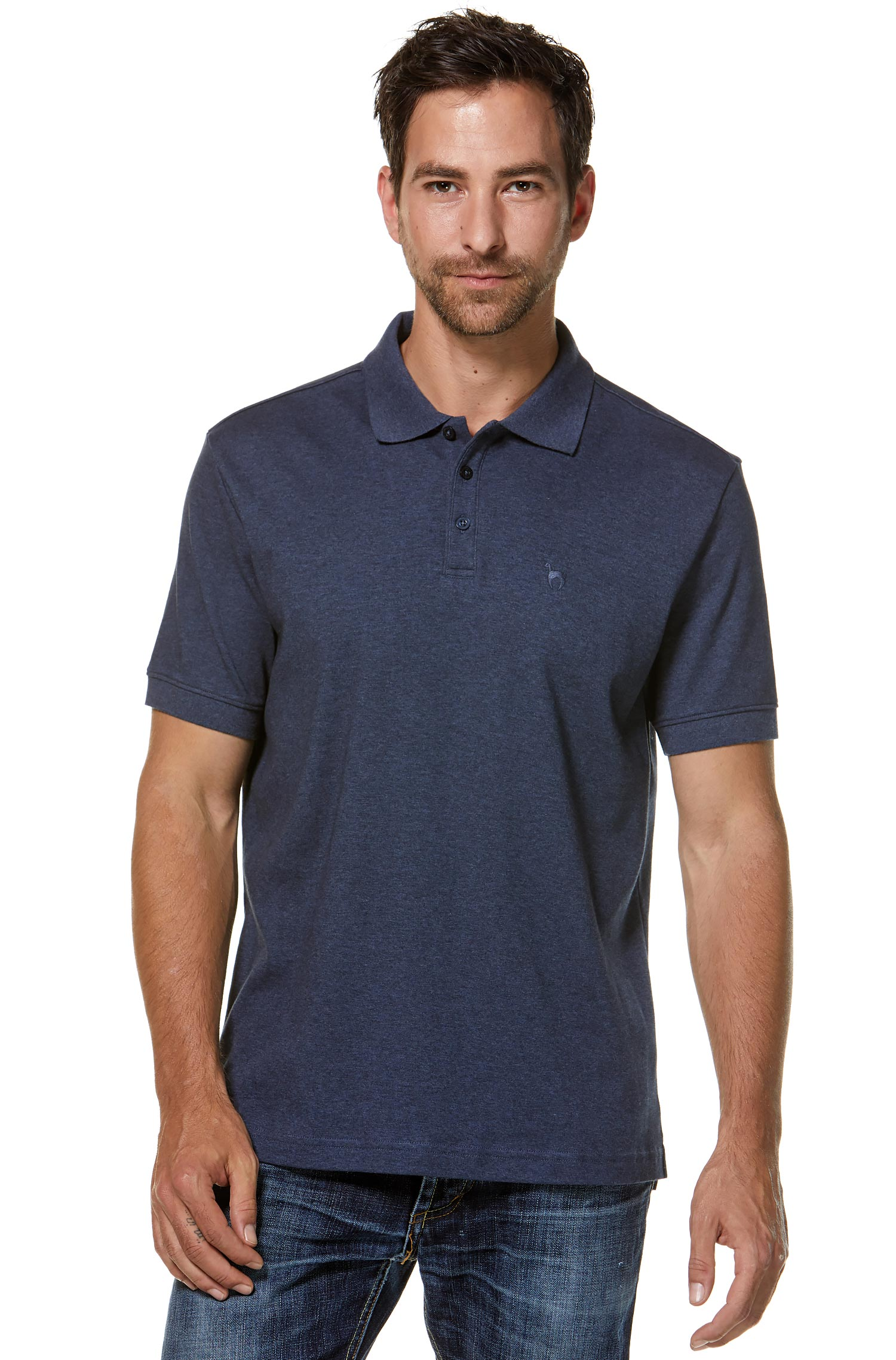 Herre - Pima - Polo Shirt Mens - Blue wash
