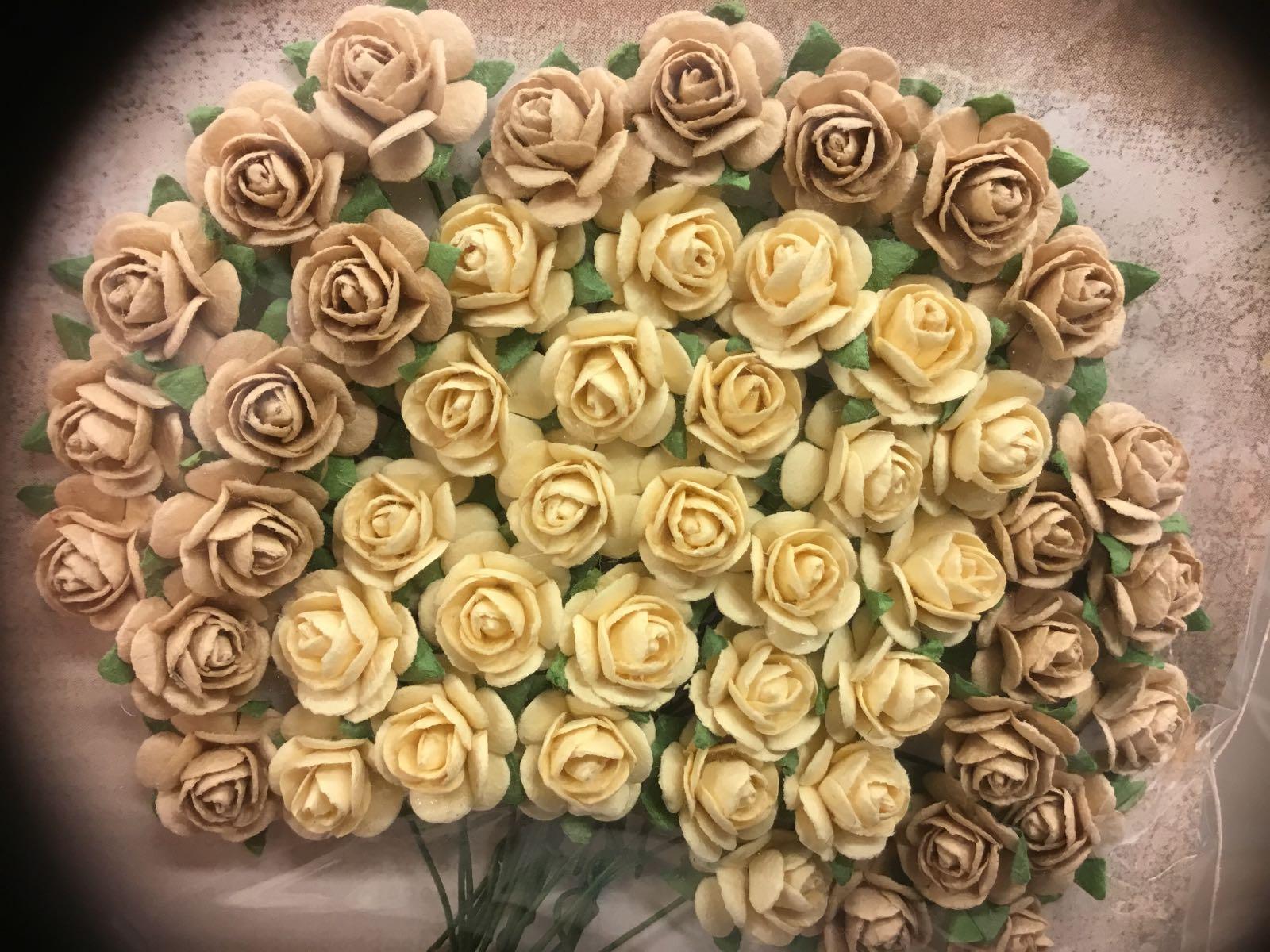 Papirdesign blomst, rose eggehvit/lysebrun-beige, 1,2cm