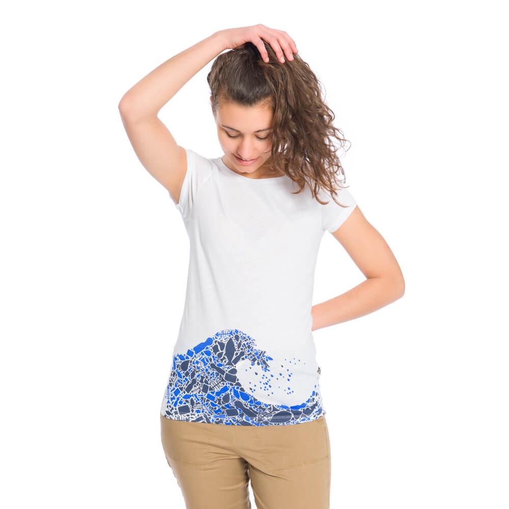 plastic wave shirt, damen - bleed