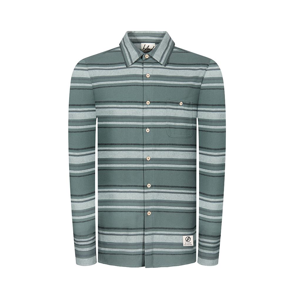 striped flannel hemd, grün, herren - bleed