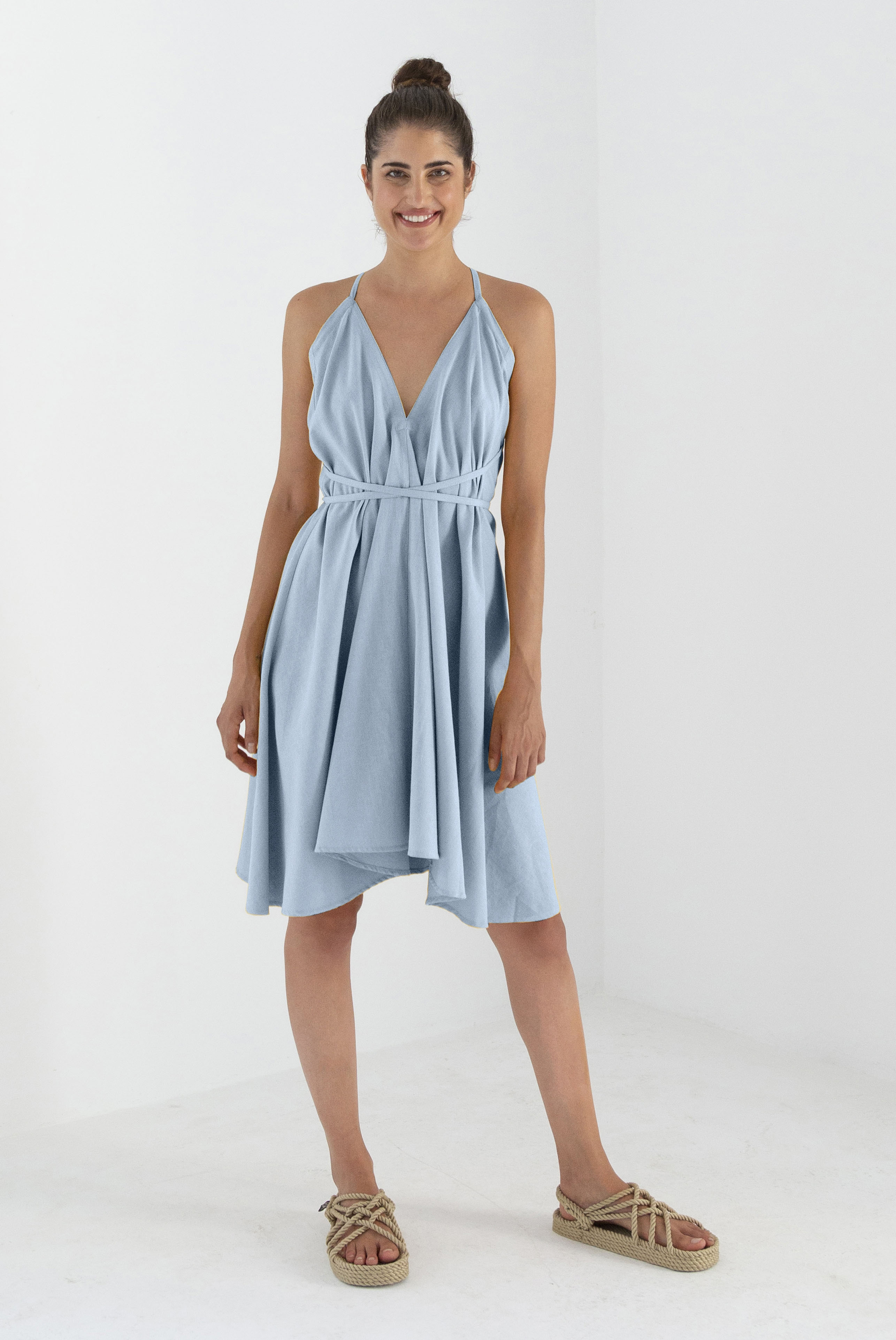 multifunctional short cotton linen dress, grey mist, damen - suite 13