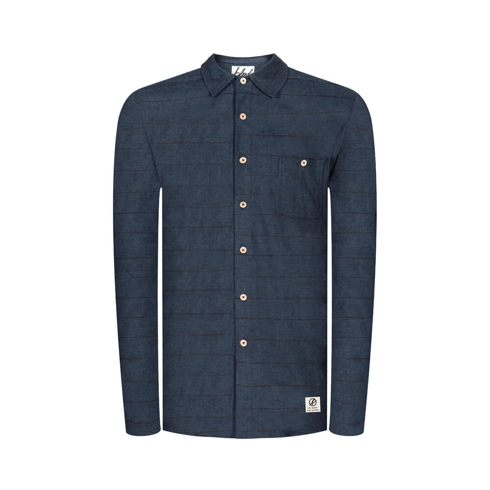 striped flanell hemd, dunkelblau, herren - bleed