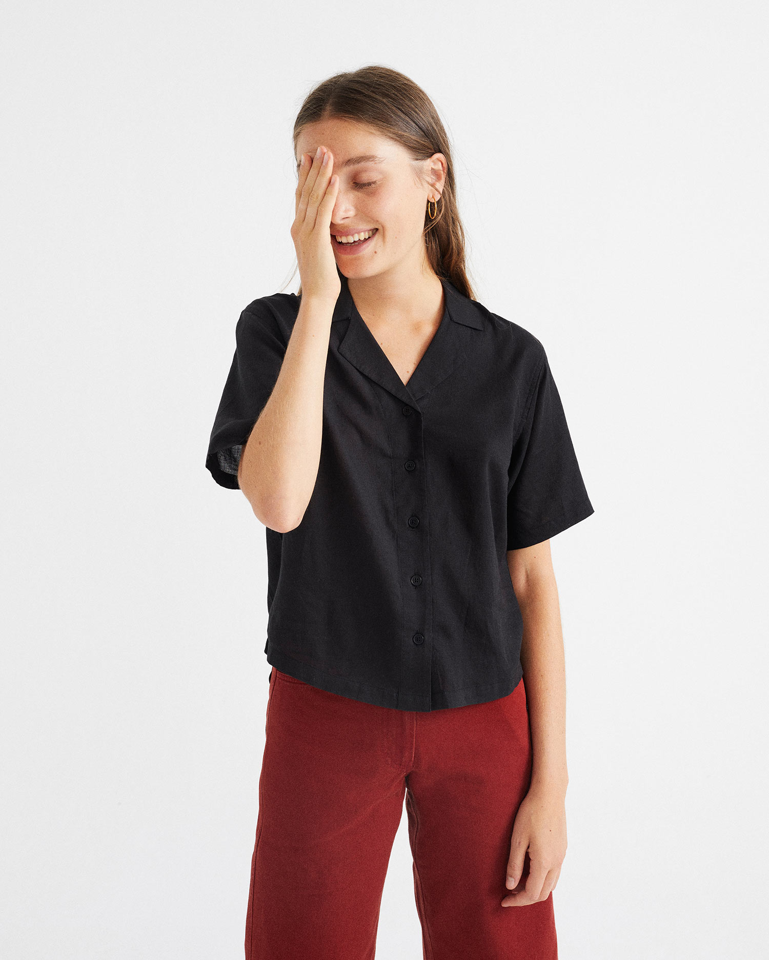 black lomami blouse, damen - thinking mu