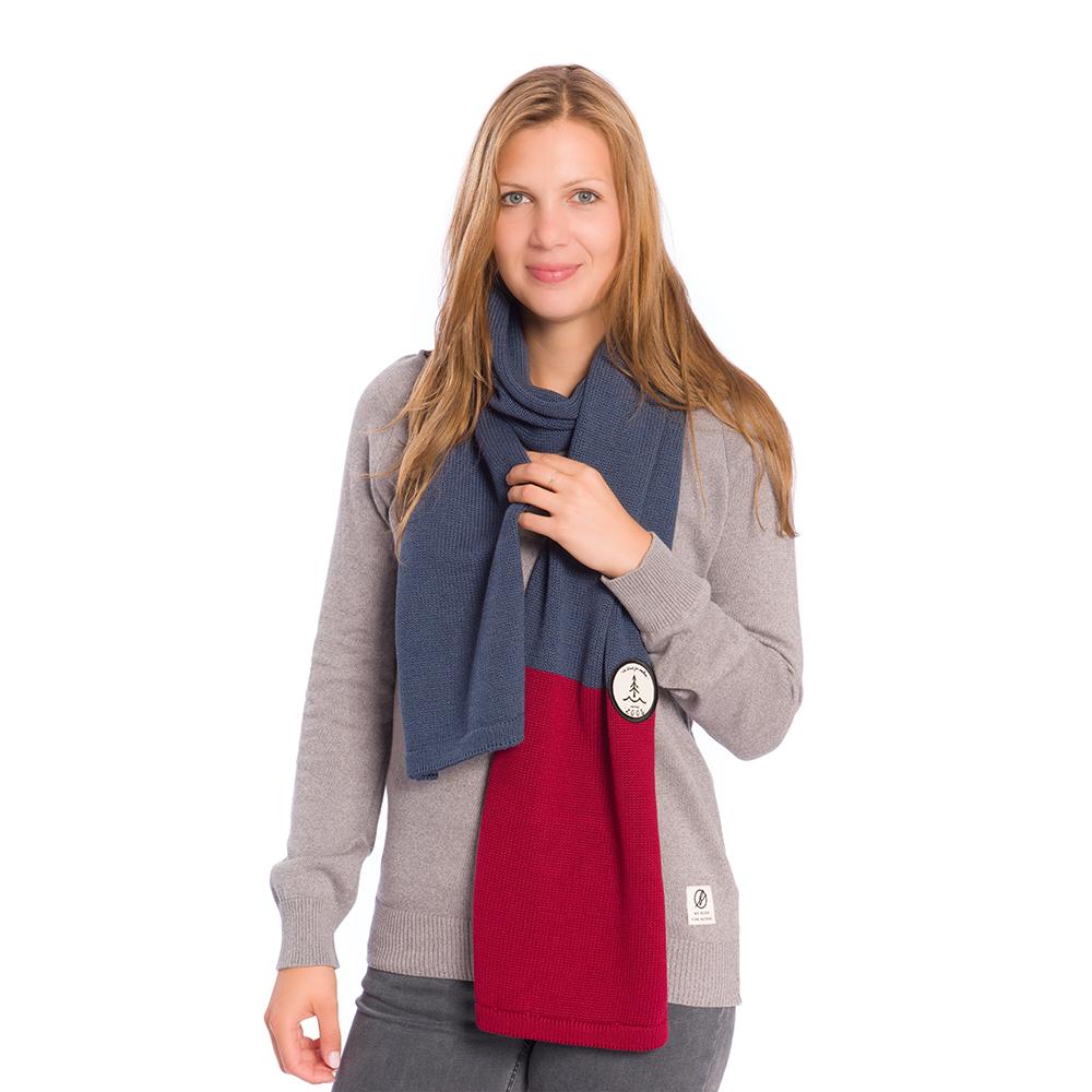 knitted eco scarf, blau/rot - bleed