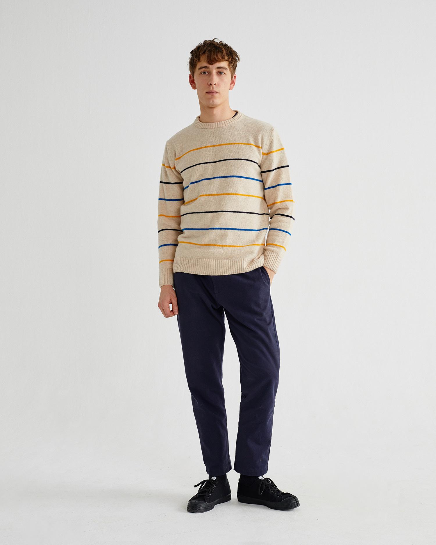 sweater shell striped miki, herren - thinking mu