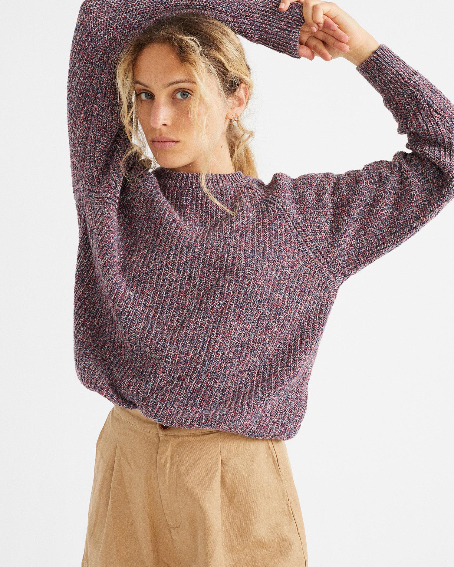 blue trash knitted sweater, damen - thinking mu
