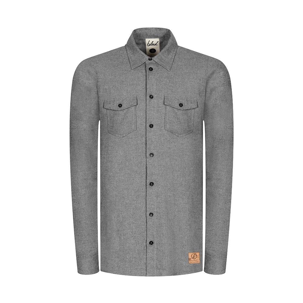 flannel shacket grau, herren - bleed