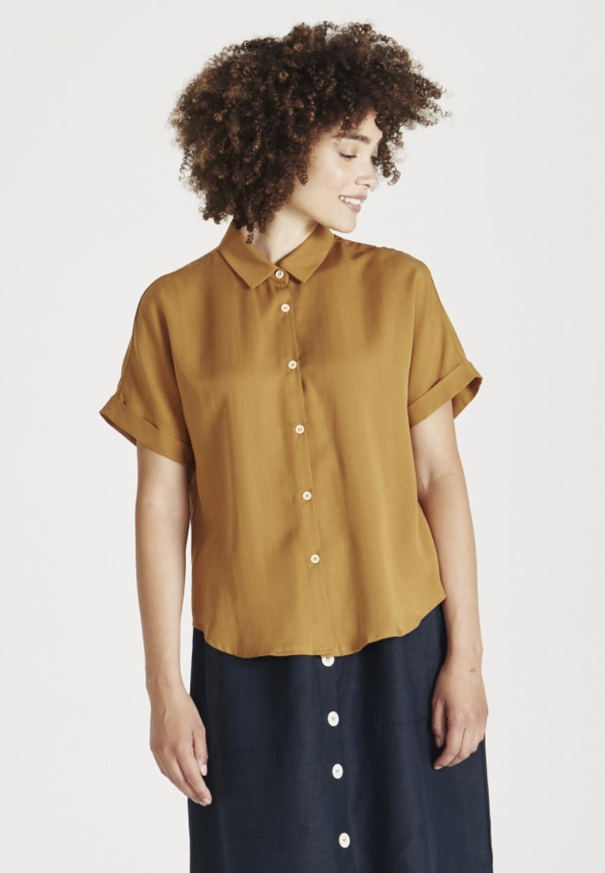 sarah bluse, rubber brown, damen - givn