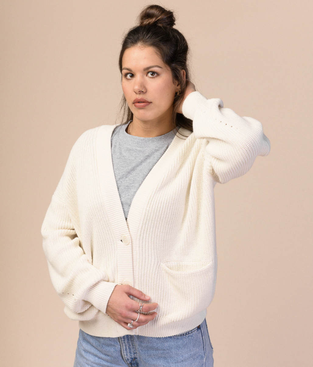 artha, knit cardigan, cream, damen - melawear