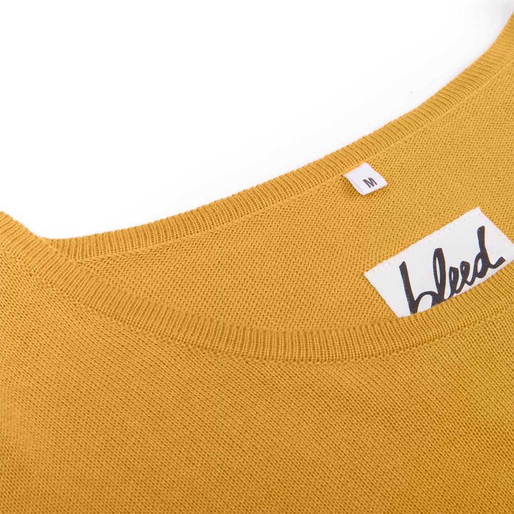 fine ecoknit pullover, gelb, herren - bleed