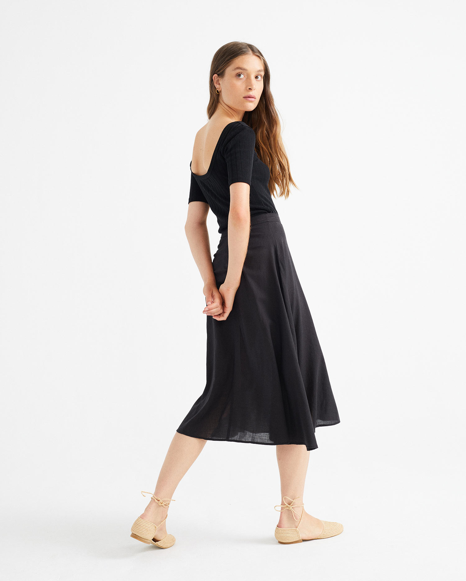 black lavanda skirt, damen - thinking mu