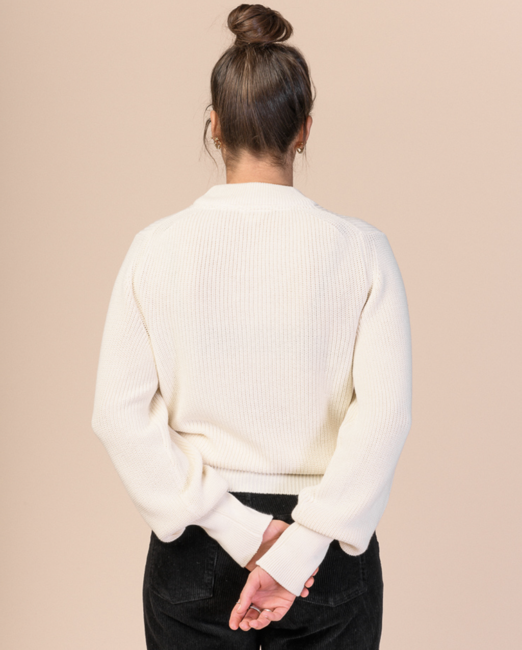 riya, knit jumper, cream, damen - melawear