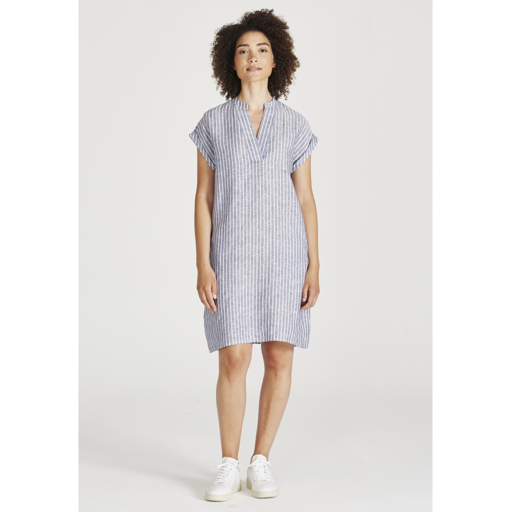 bianca kleid, blue white stripes, damen - givn