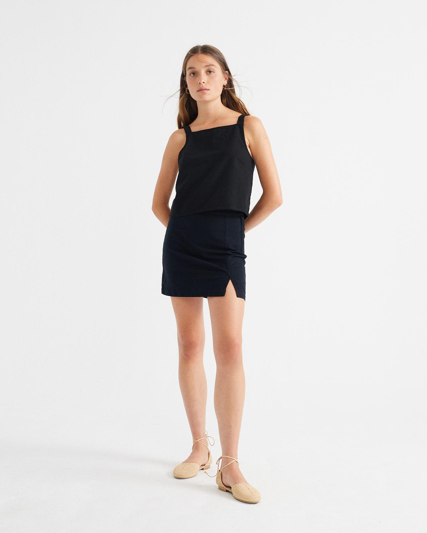 black tulipan skirt, damen - thinking mu