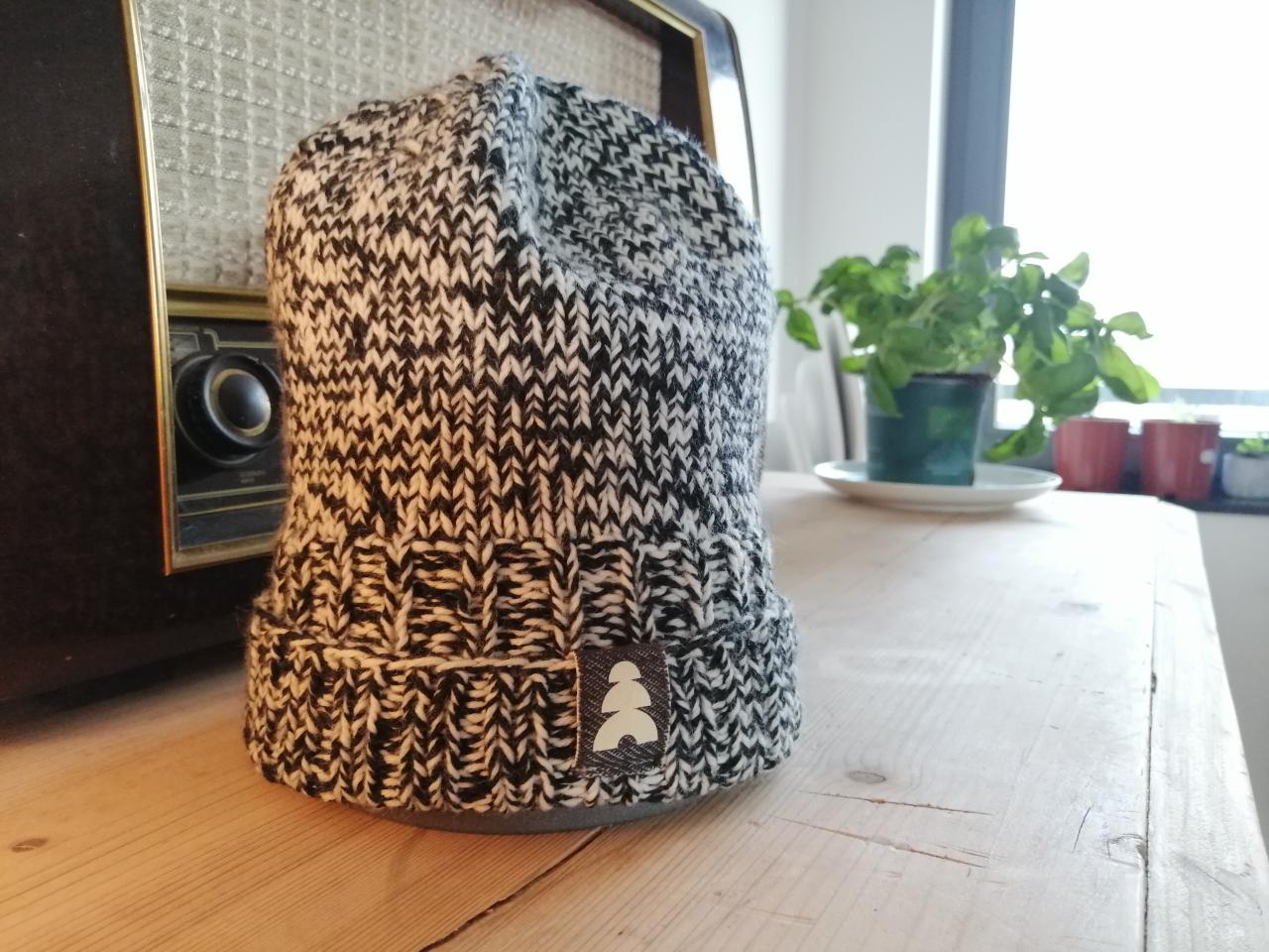 beanie merinowolle, schwarz-weiß - 9t3