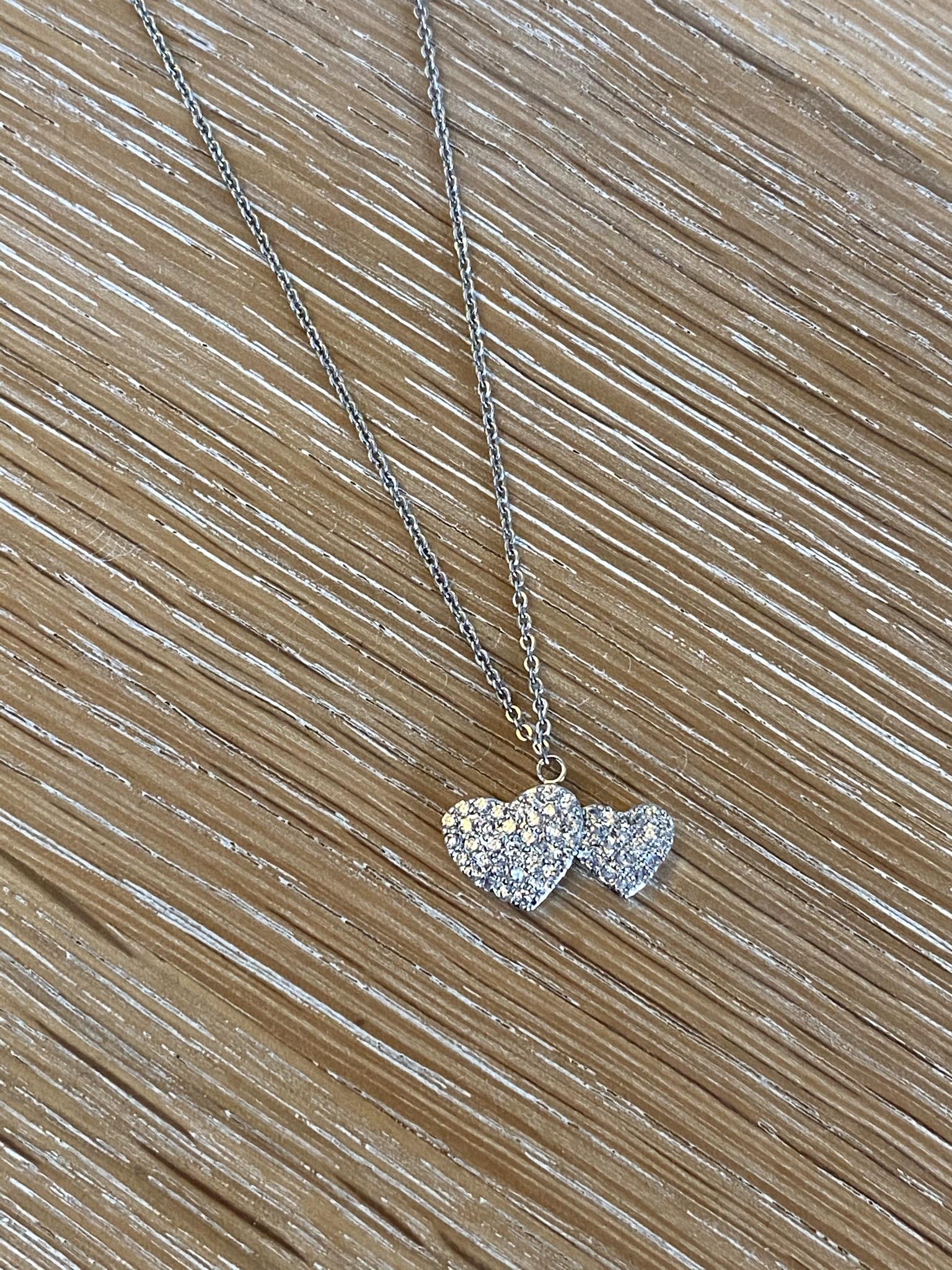 Diamanté Double Heart Necklace