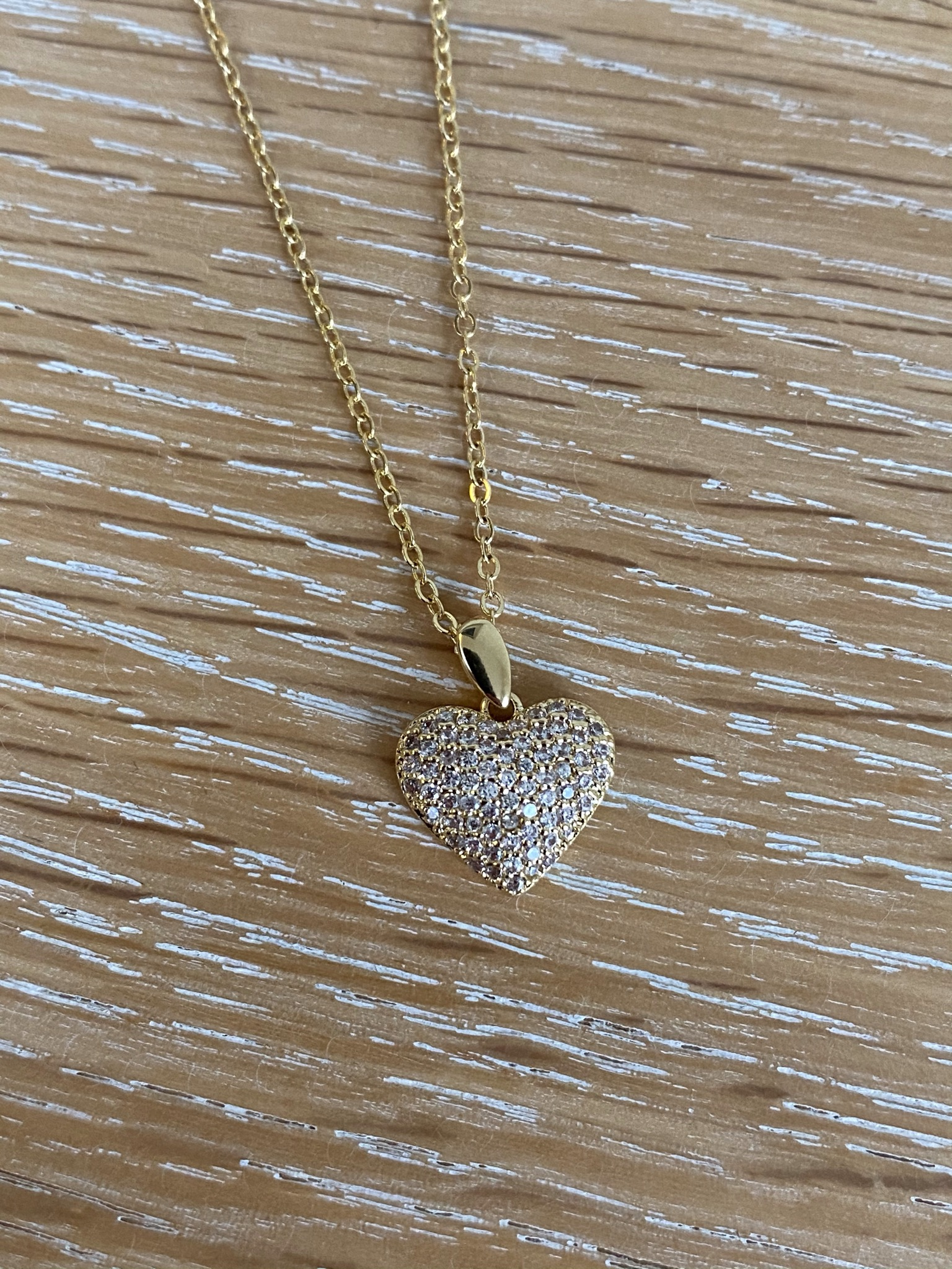 Diamanté Gold Heart Necklace