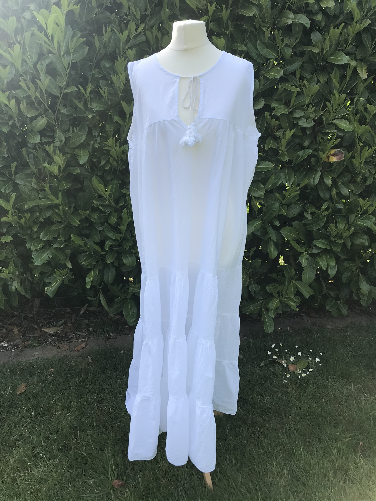 MSH white cotton tiered dress