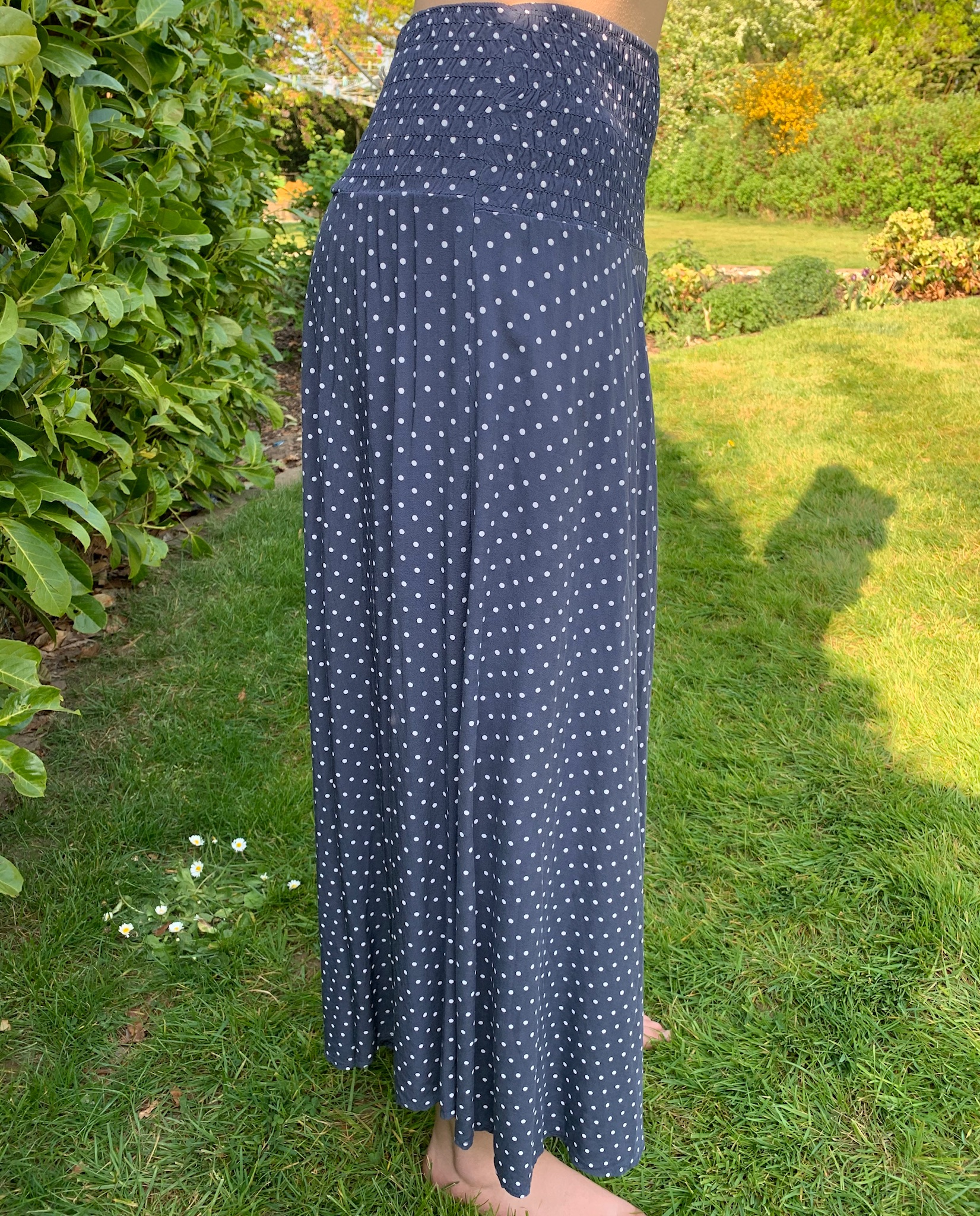 MSH culottes elasticated waist navy and white spots