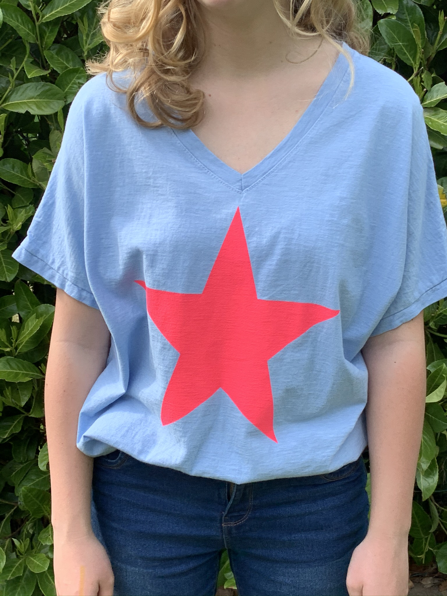 MSH cotton tee shirts fuchsia star design