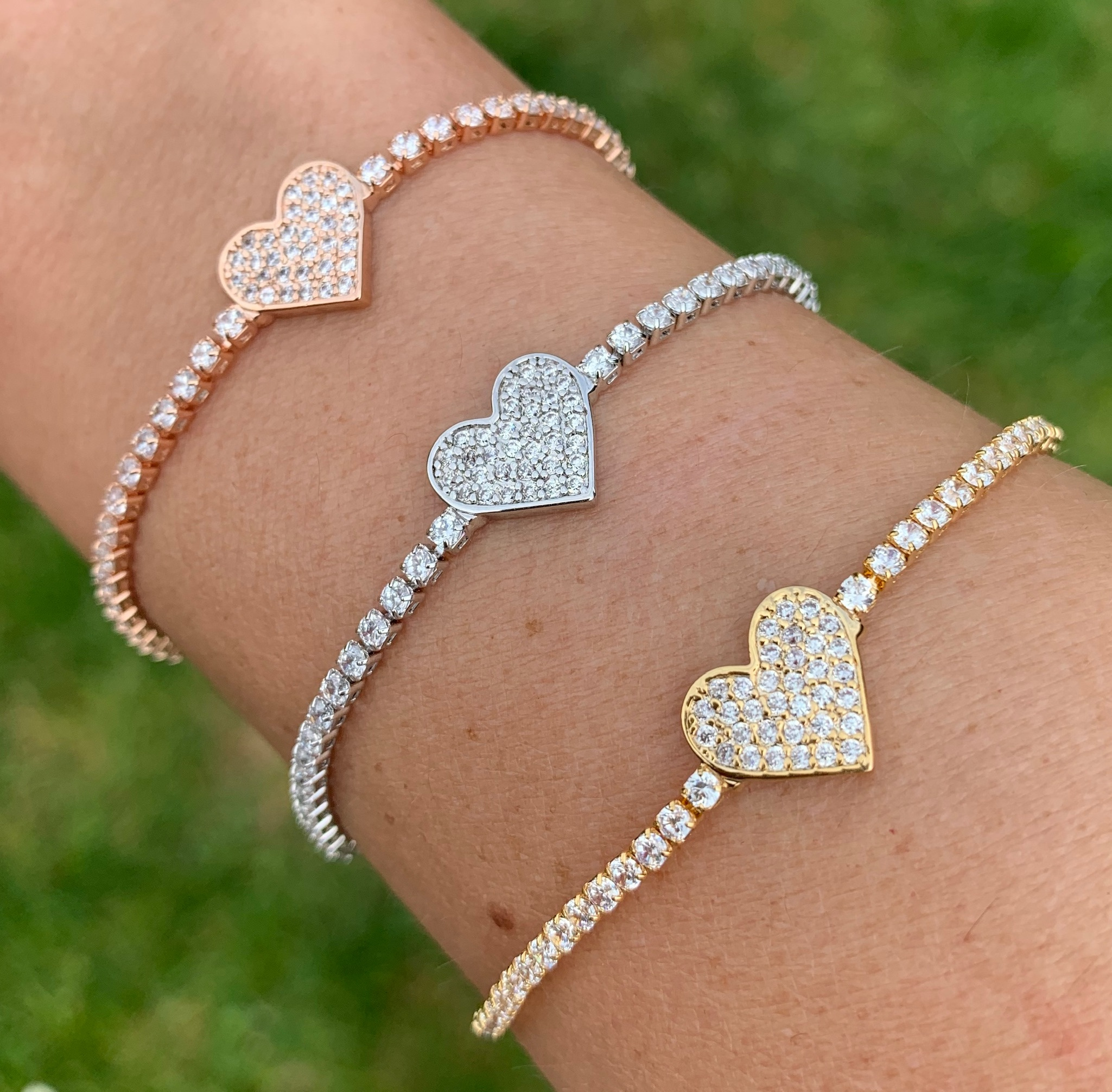 Love the links heart diamonte pull bracelets
