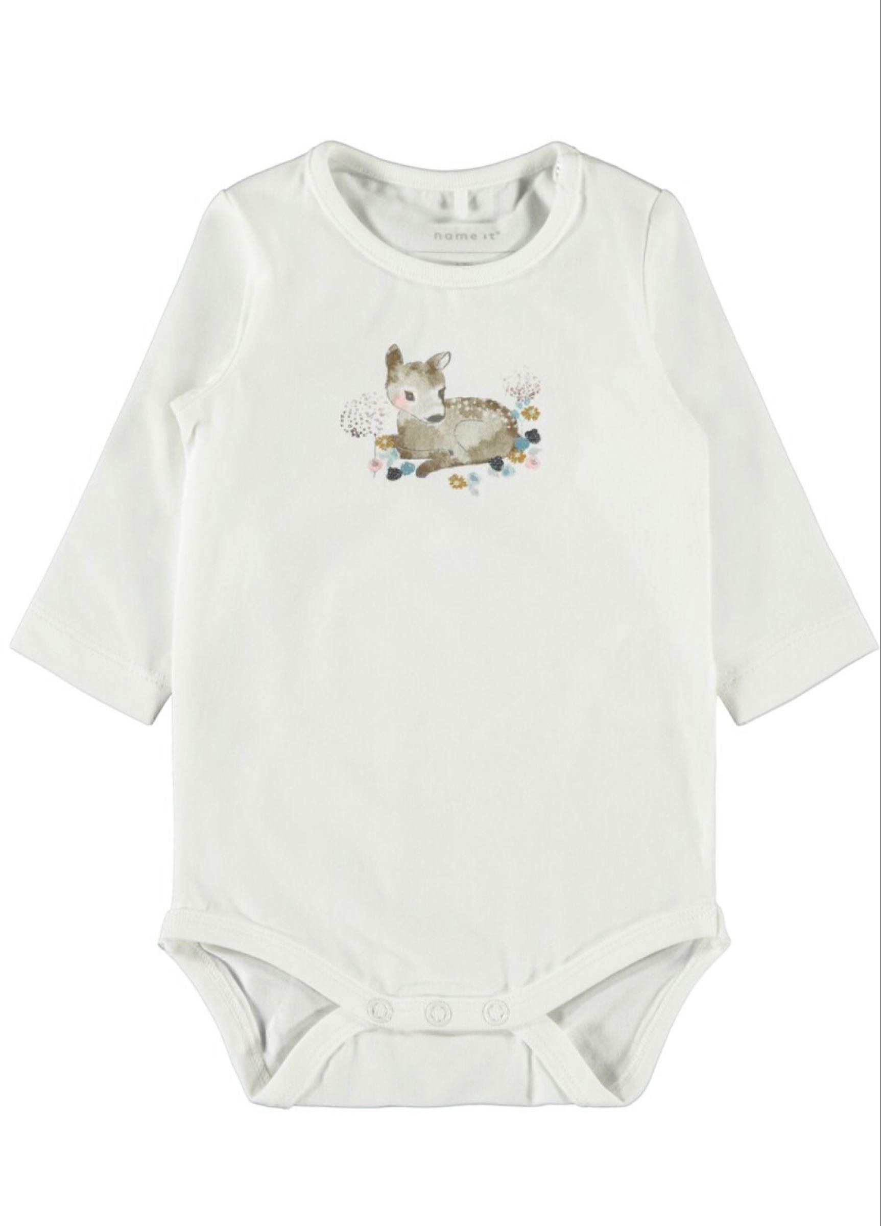 Name it Baby Body med Tryck i Ekologisk Bomull