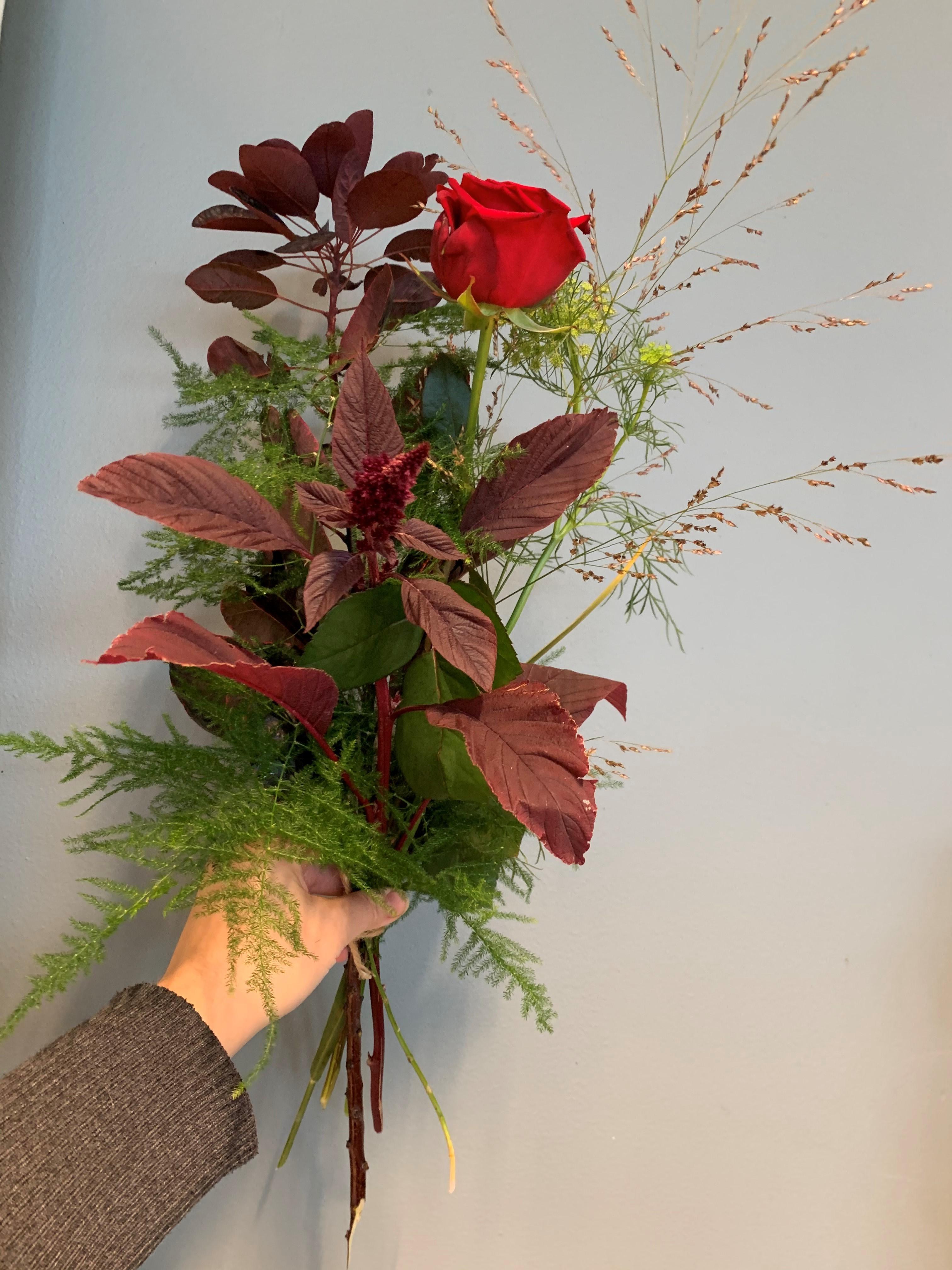 Röd ros med grässtrån