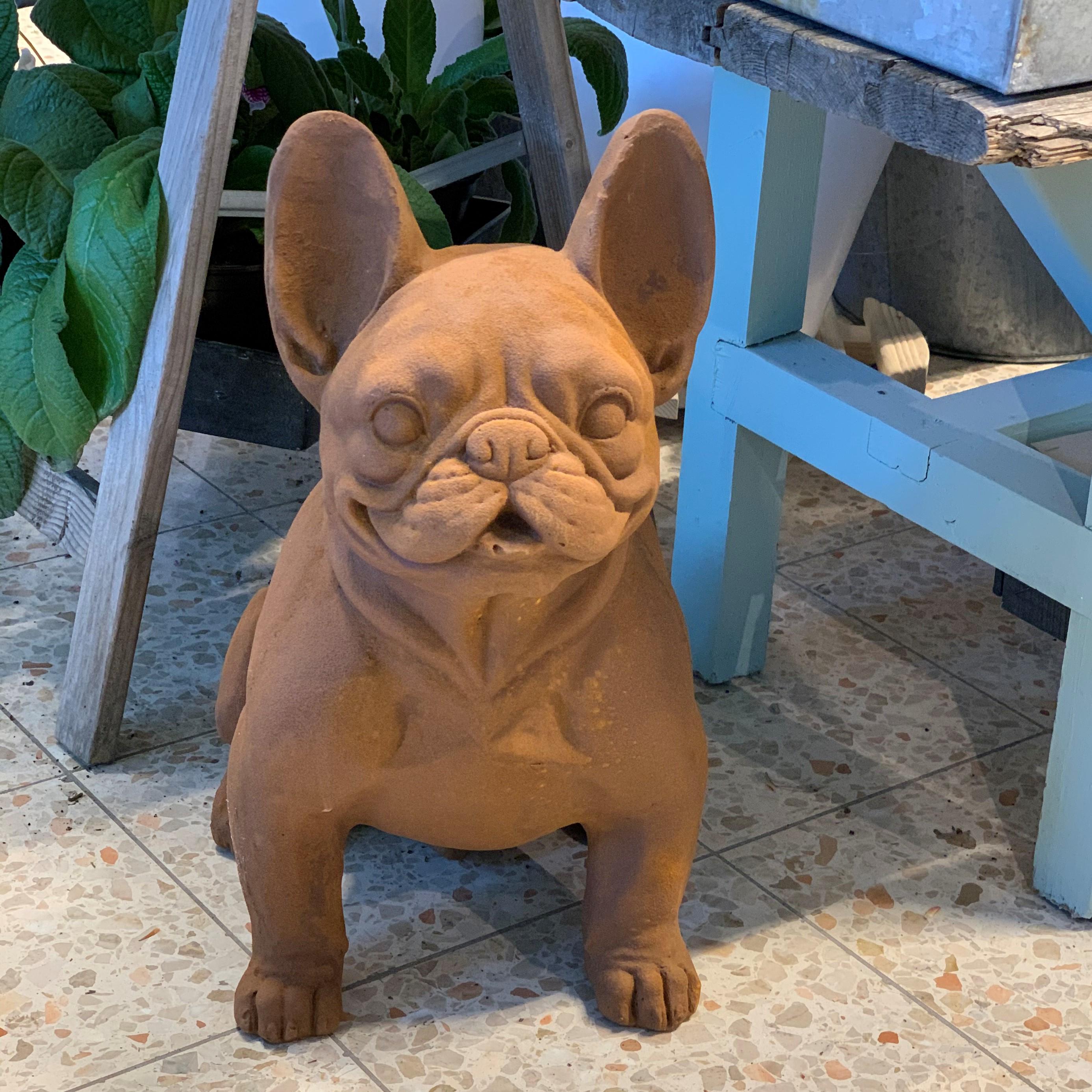 Fransk bulldog staty - Rostig