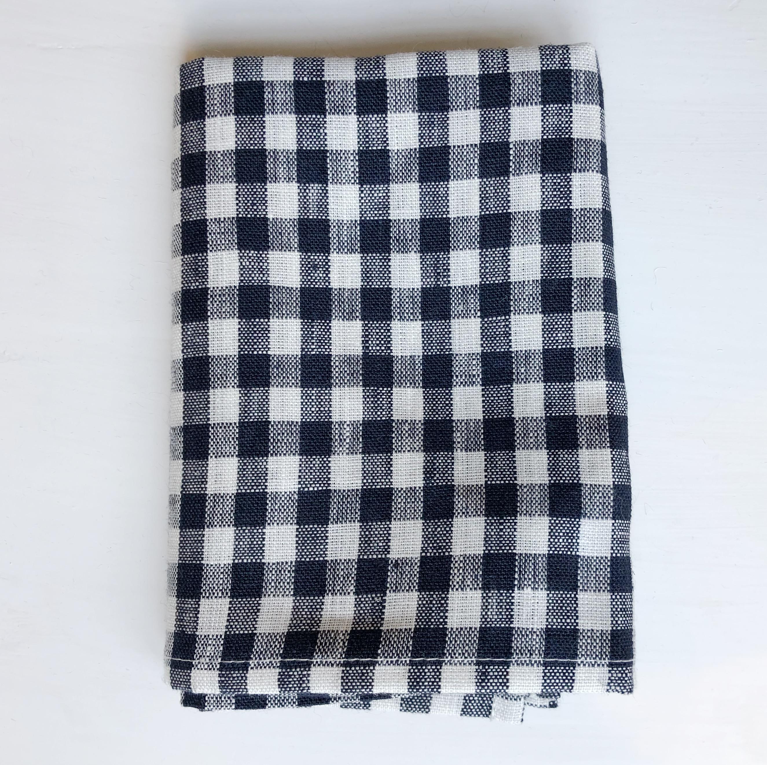 Fog Linen Work / Viskestykke (Navy/White Big Plaid)