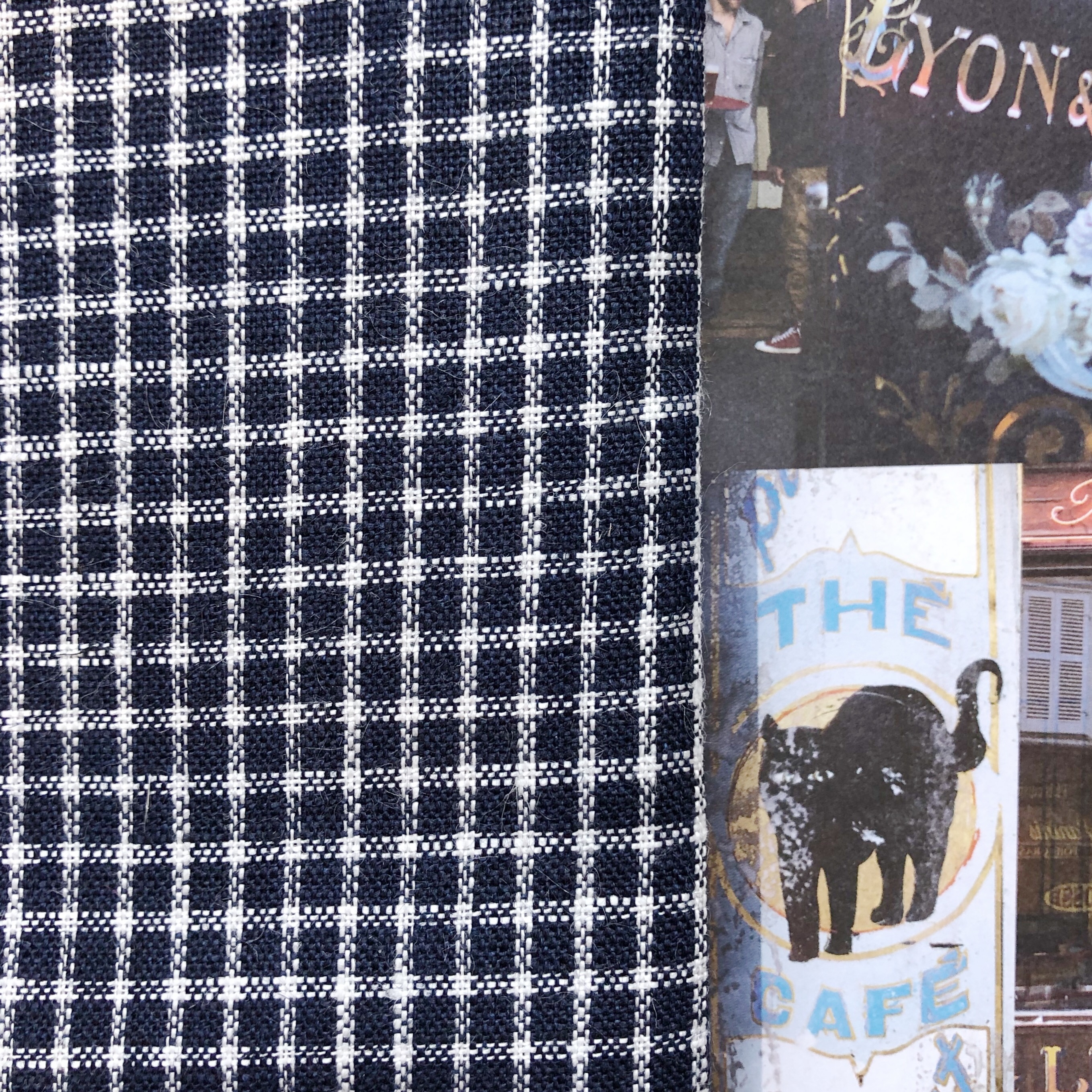 Fog Linen Work / Viskestykke (Navy/White Plaid)