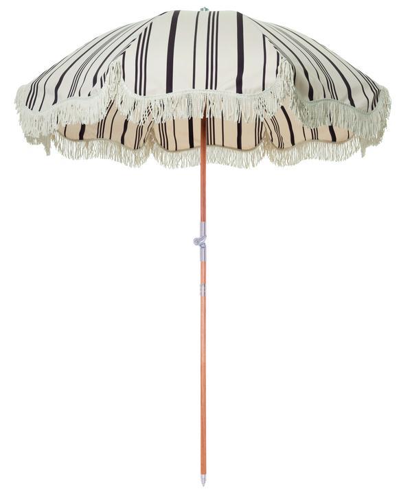 Premium Beach Umbrella Vintage Black Stripe