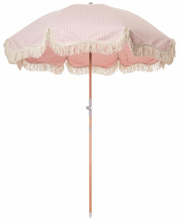 Premium Beach Umbrella Pink Stripe