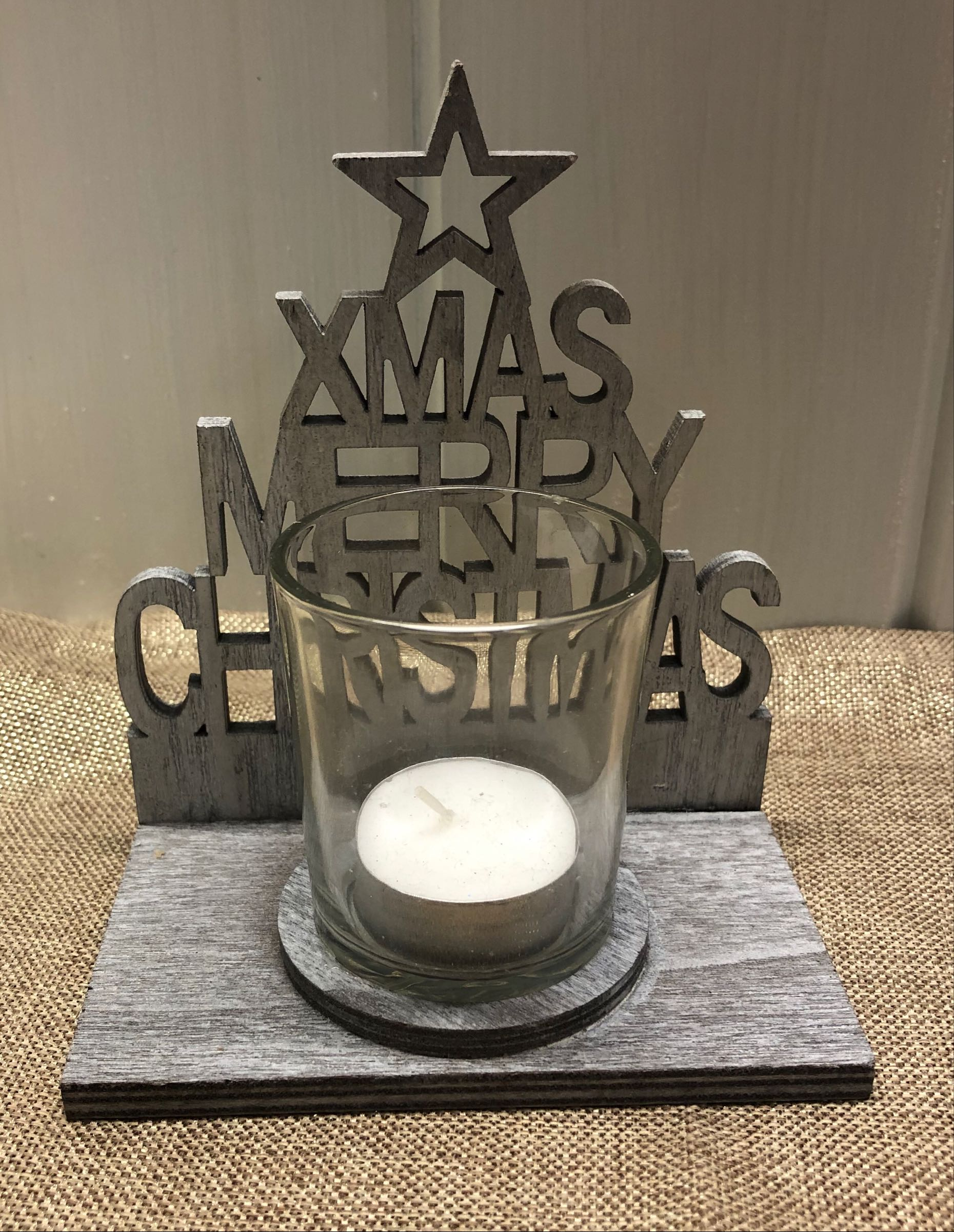 Merry Christmas grey tealight