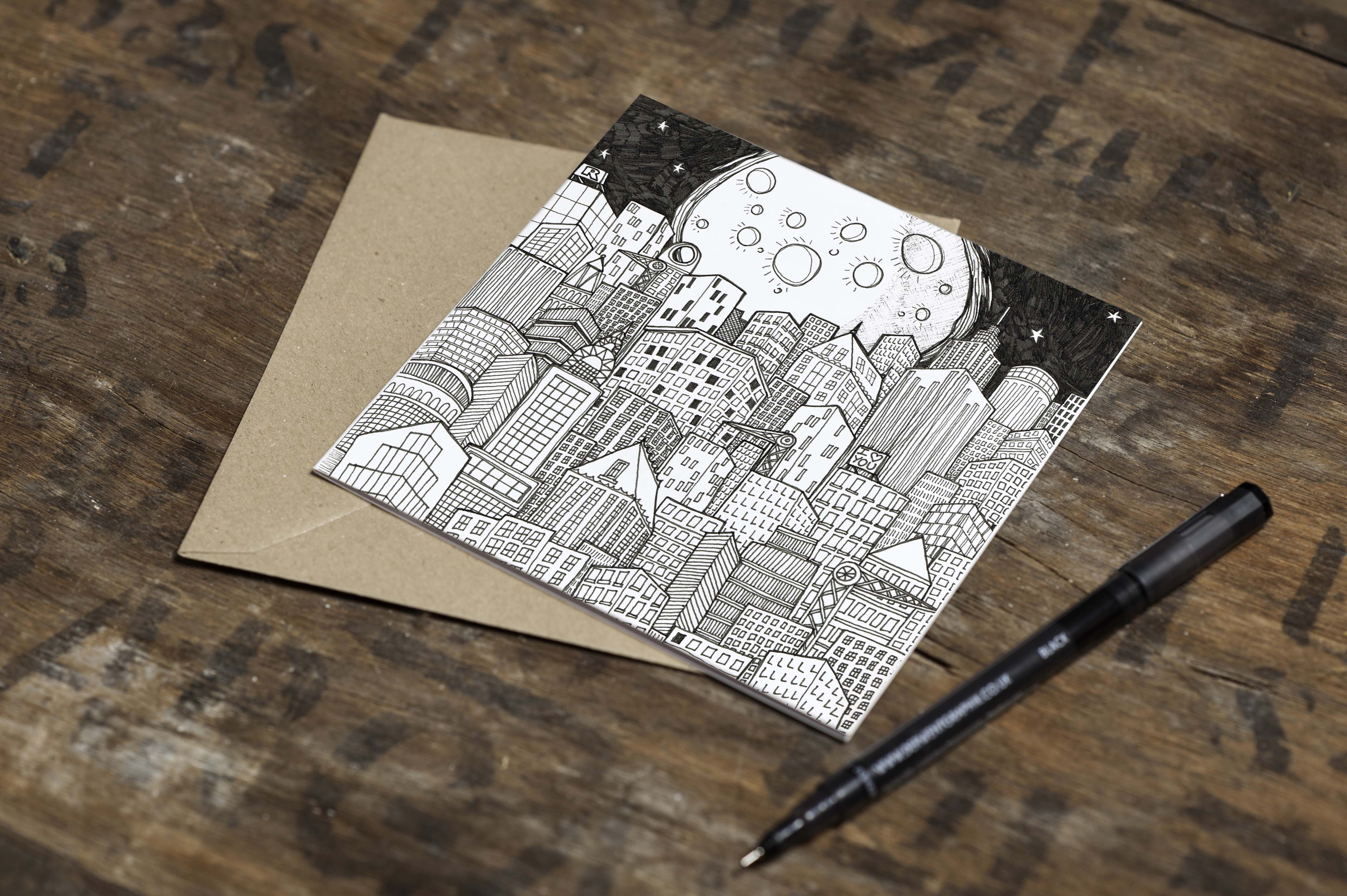 Must Dash Illustrations Moon and City Card