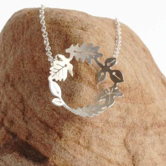 Silver Dancing Leaves Hoop Necklace