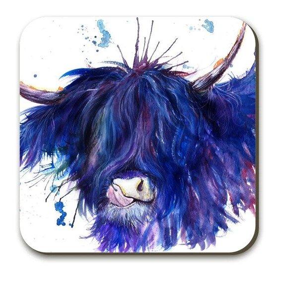 Wraptious Coaster - Splatter Highland Cow