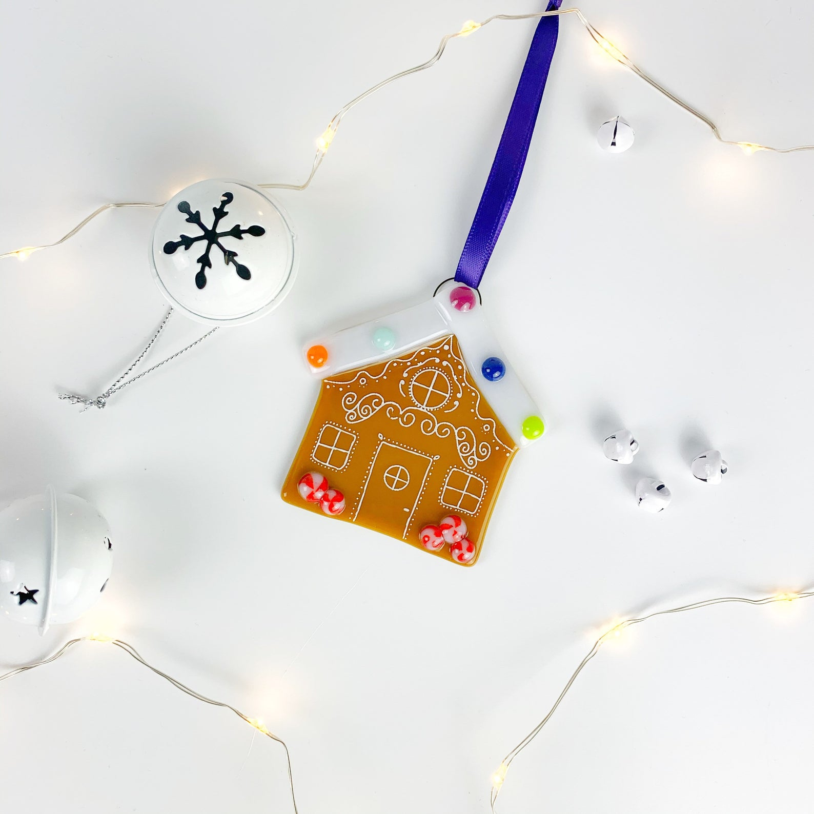 Glass Gingerbread House Decoration