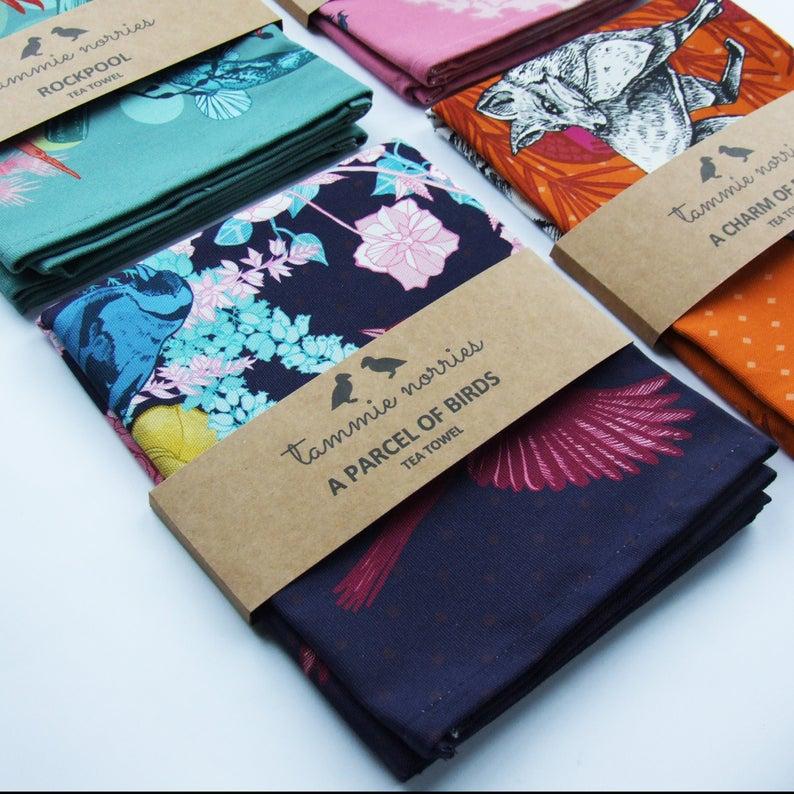 Tammie Norries A Parcel of Birds Tea Towel
