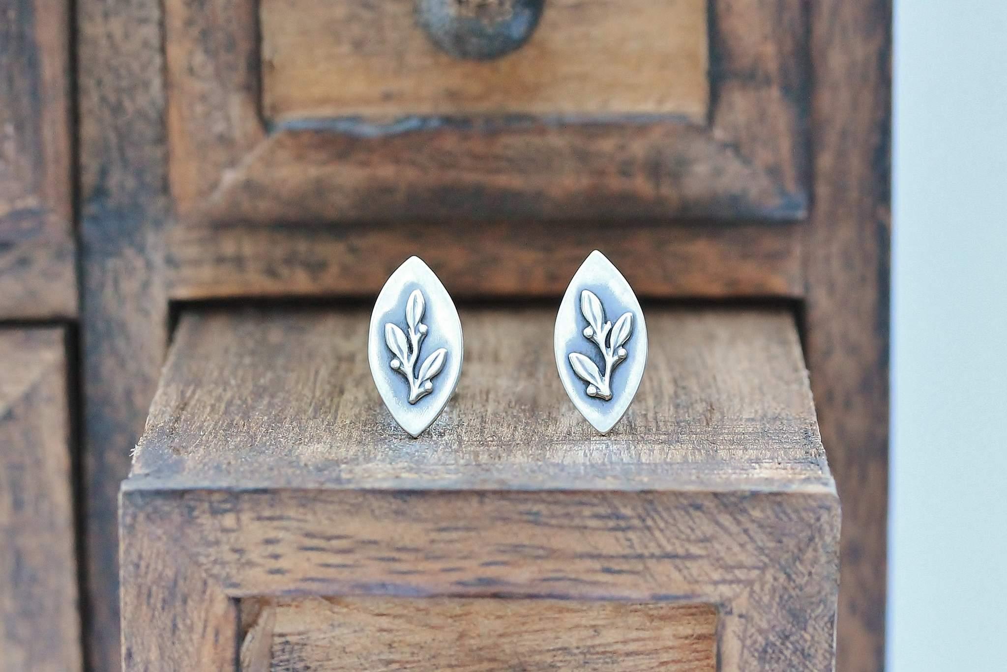 Silver Winter Berry Navette Earrings