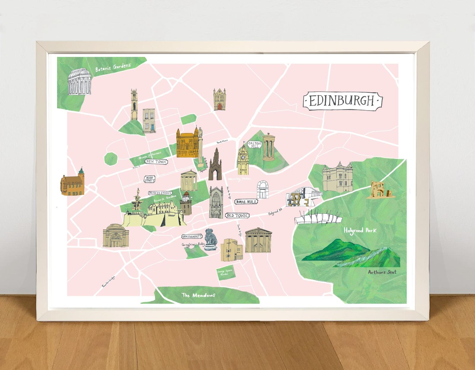 Kaitlin Mechan A3 Edinburgh Map Print