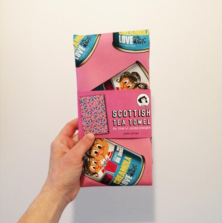 Cheryl Jones Designs 'Creamola Love' Tea Towel