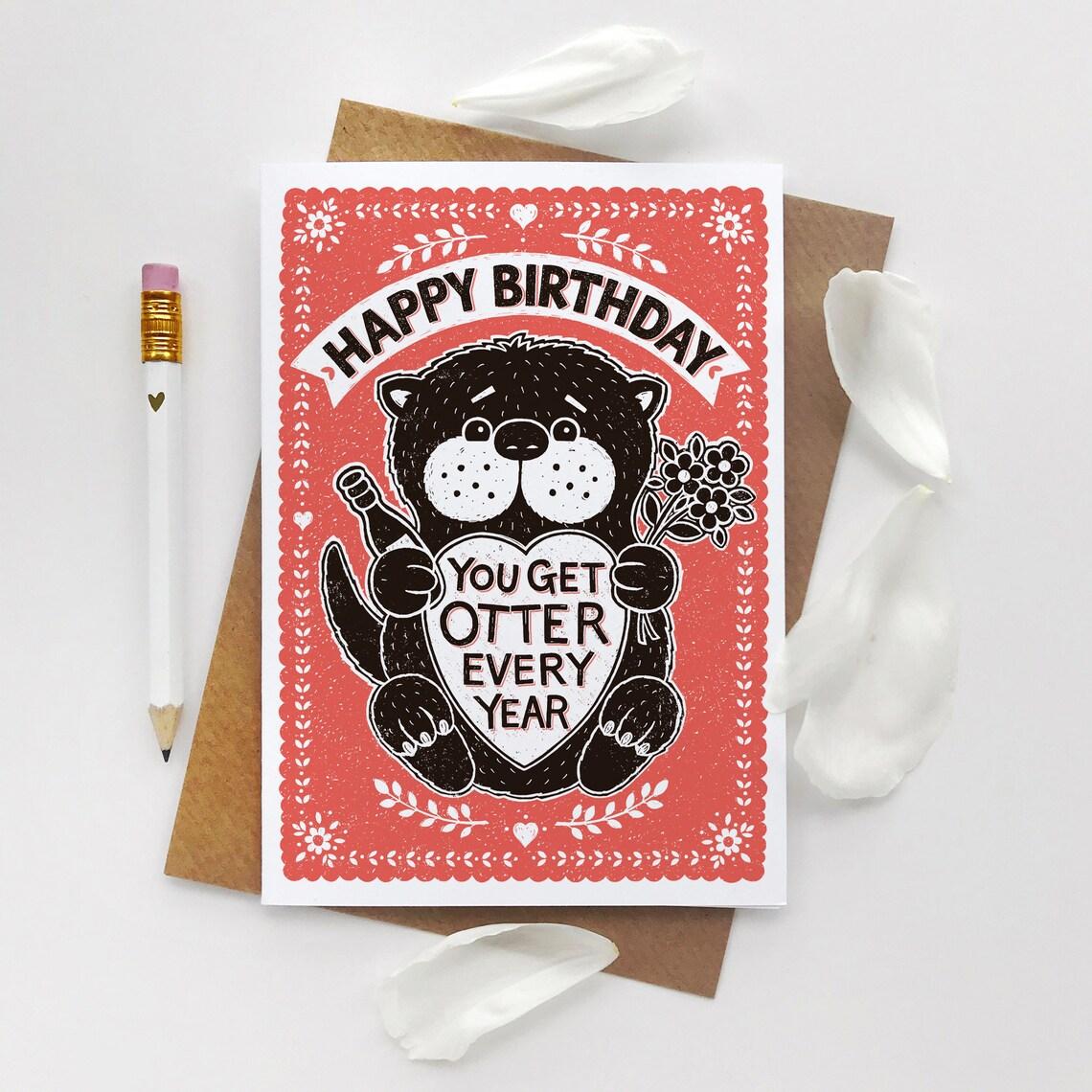 Alexandra Snowdon Otter Birthday Card