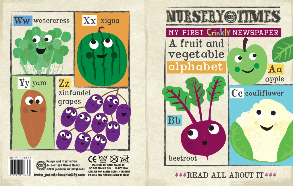 Nursery Times Crinkly Newspaper - A Fruit & Vegetable Alphabet