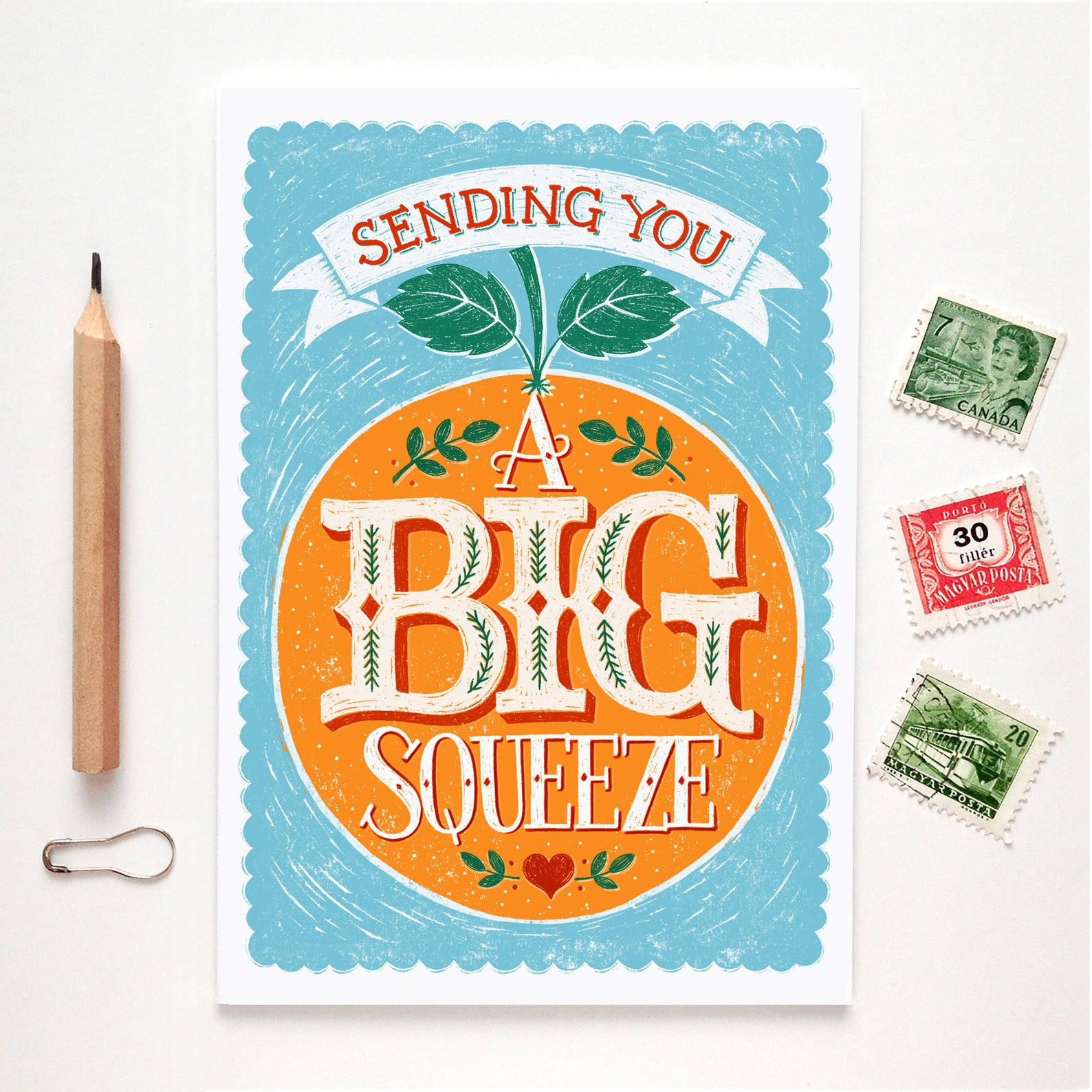 Alexandra Snowdon Big Squeeze Orange Card