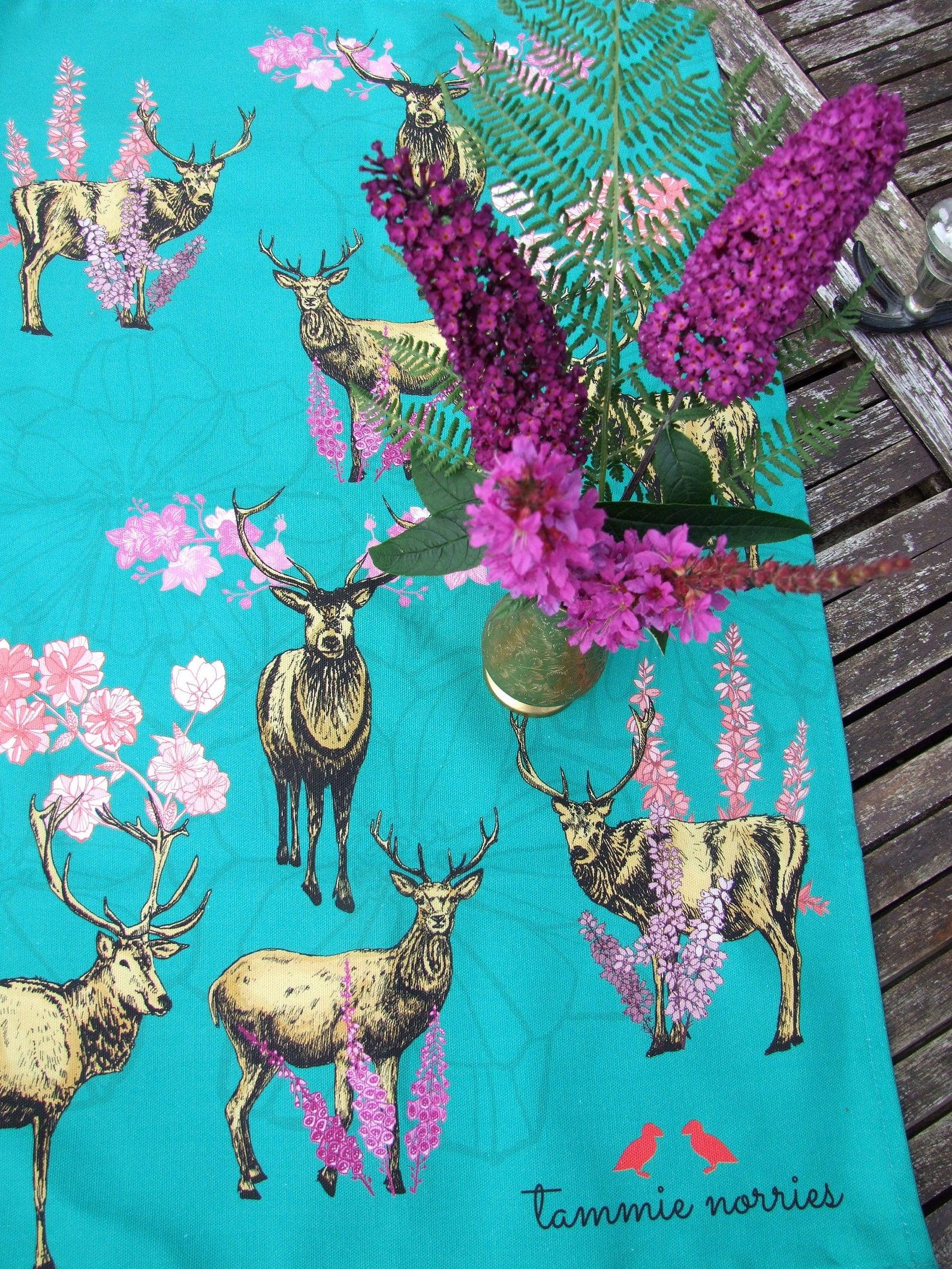 Tammie Norries A Bevy of Deer Tea Towel