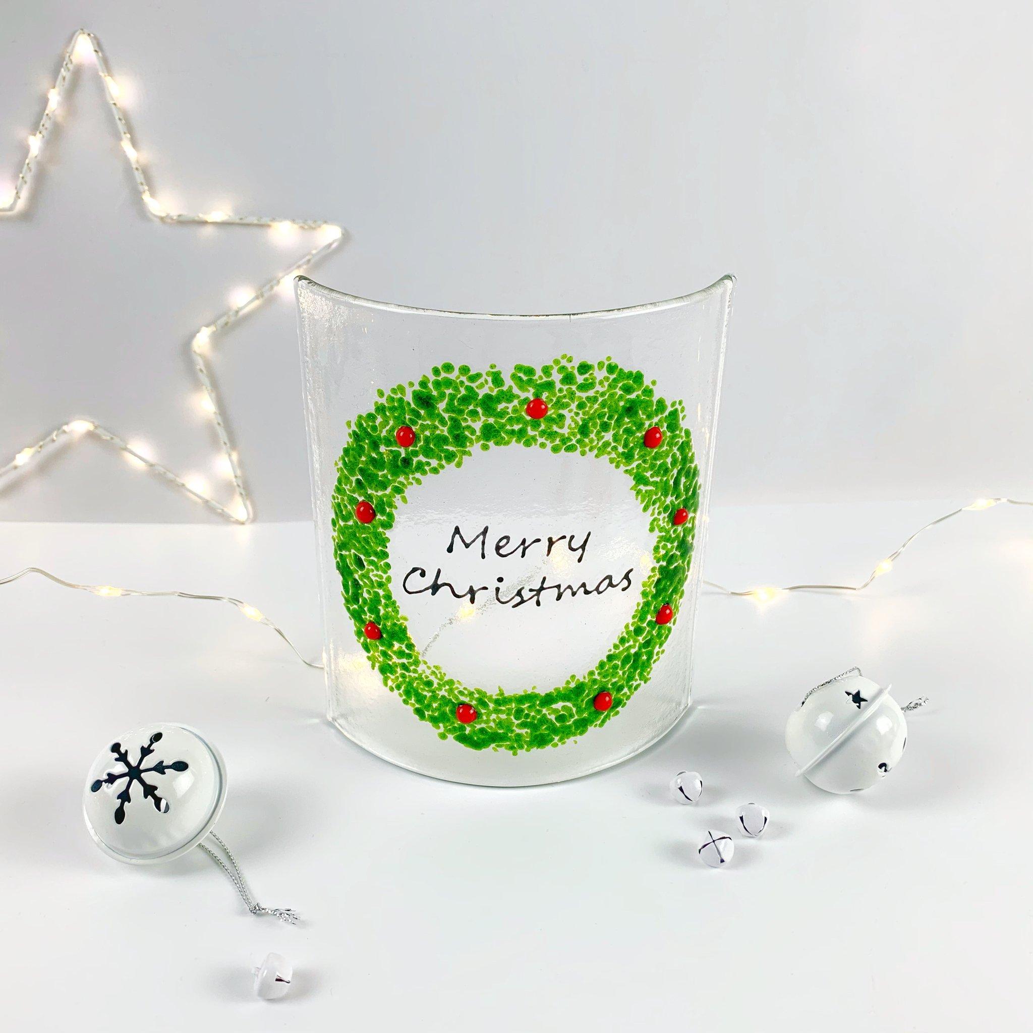 Glass Christmas Wreath Panel