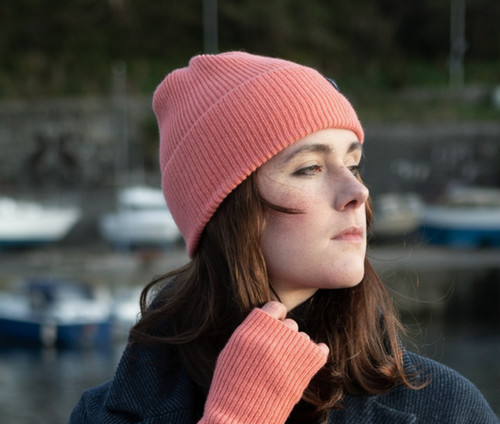 Island Nation Studio Ribbed Winter Hat - Coral