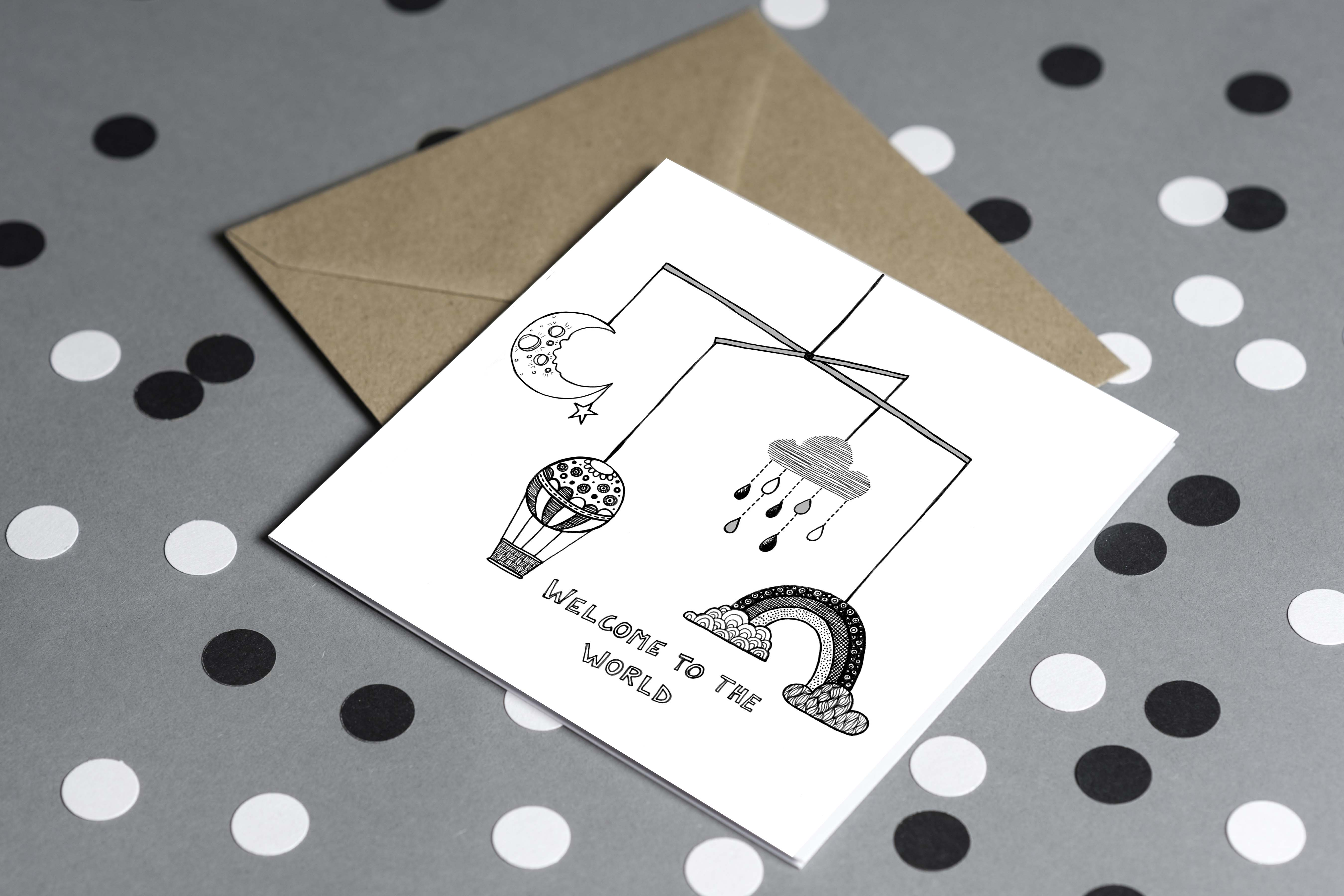 Must Dash Illustrations Welcome to the World Card