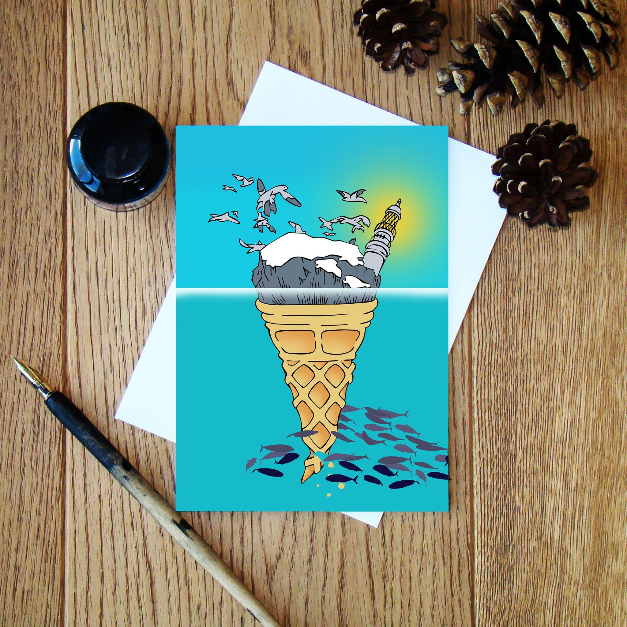 Cheryl Jones Designs Bass Rock Ice Cream Greeting Card